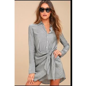 Grey striped knotted shirt dress